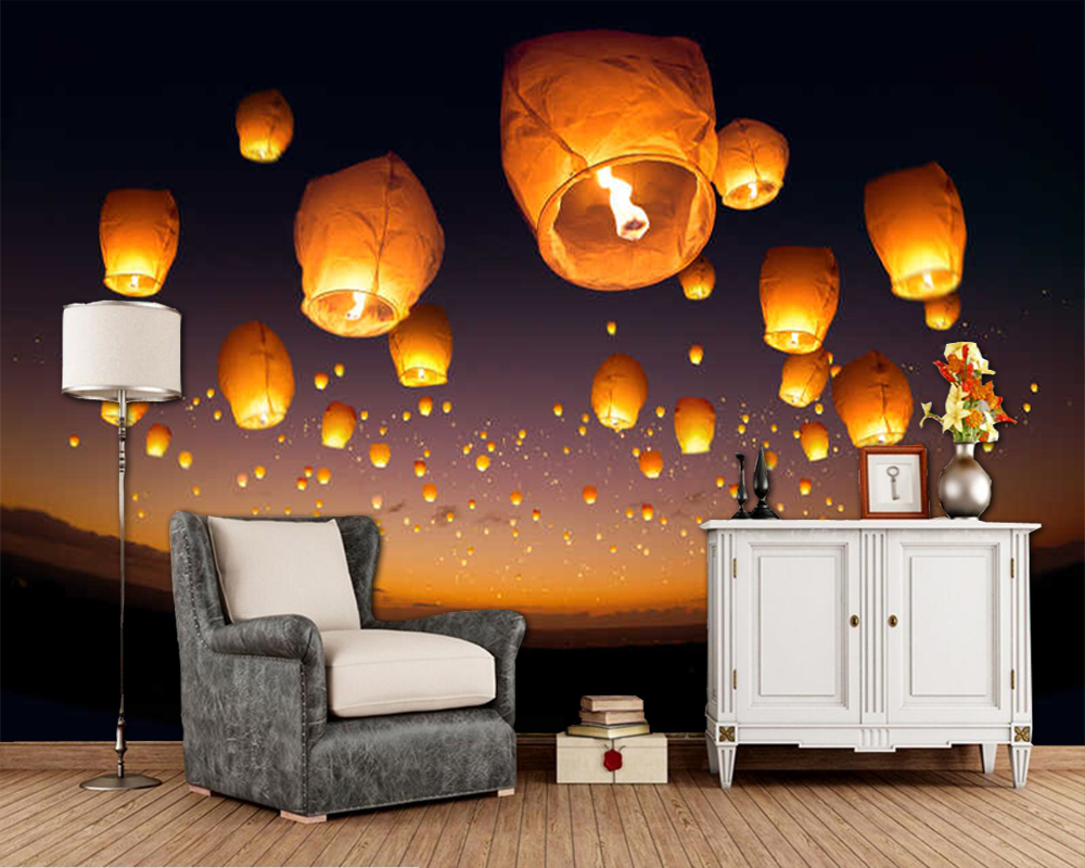 Flying Lantern In The Night Sky 3d Wallpaper,living Room Tv Sofa Wall Bedroom Wall Papers Home Decor Restaurant Mural