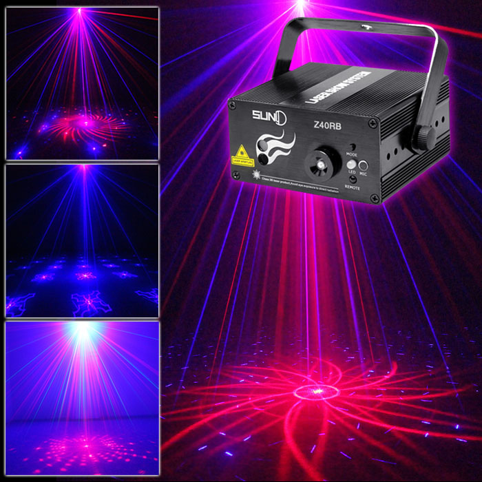 SUNY Lighting 3 Lens 40 Pattern Club RB Laser Blue LED Stage Party Professional Projector illumination Light Disco Music Z40RB stage lighting 3 lens 24 pattern club rg laser blue led home party professional projector illumination dj light disco club laser