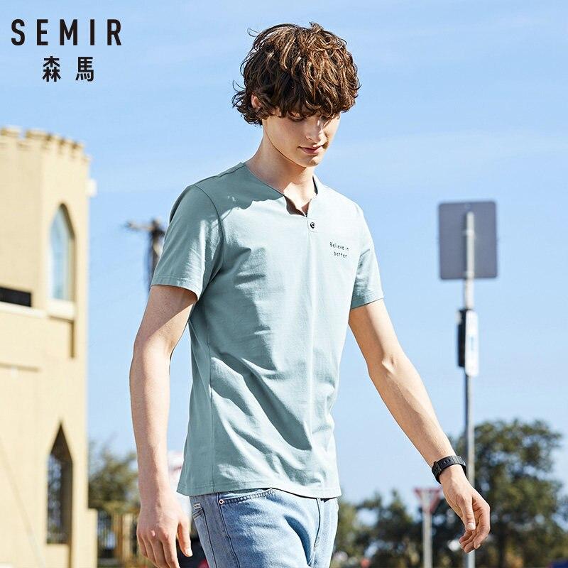 SEMIR Men short-sleeved T-shirt men's young summer new V-neck trend printing t-shirt letters Korean students tide