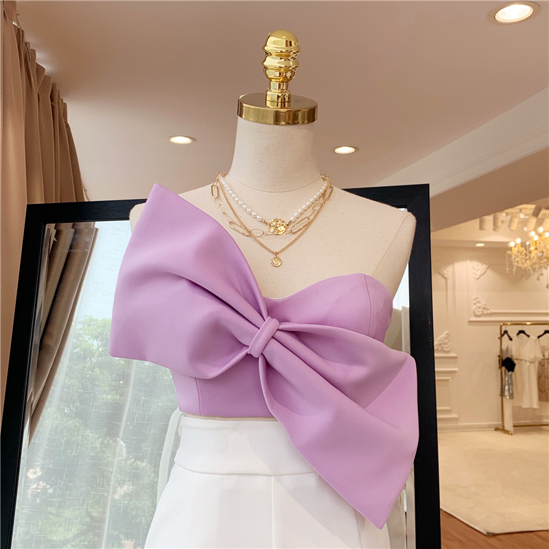 2019 Summer New Bra Tops Women Fashion Sexy Short Bow Top Temperament Outwears Female Short Shirt Ladies Camisole Tanks Feminino