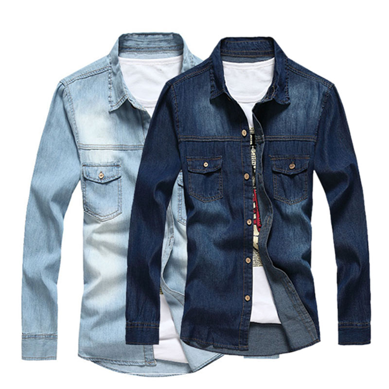 2016 New Fashion Men Slim Fit Long Sleeve Denim Shirt Mens