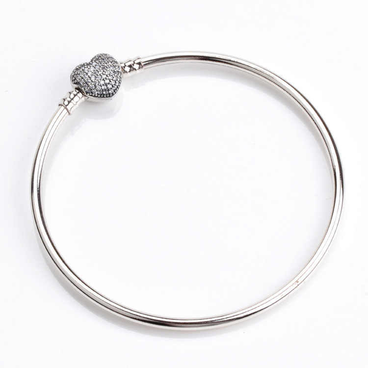41bac0bb5bb 925 Sterling Silver Moments Silver Pandora Bracelet With Pave Heart Clasp  Clear CZ Original Charm Bangle