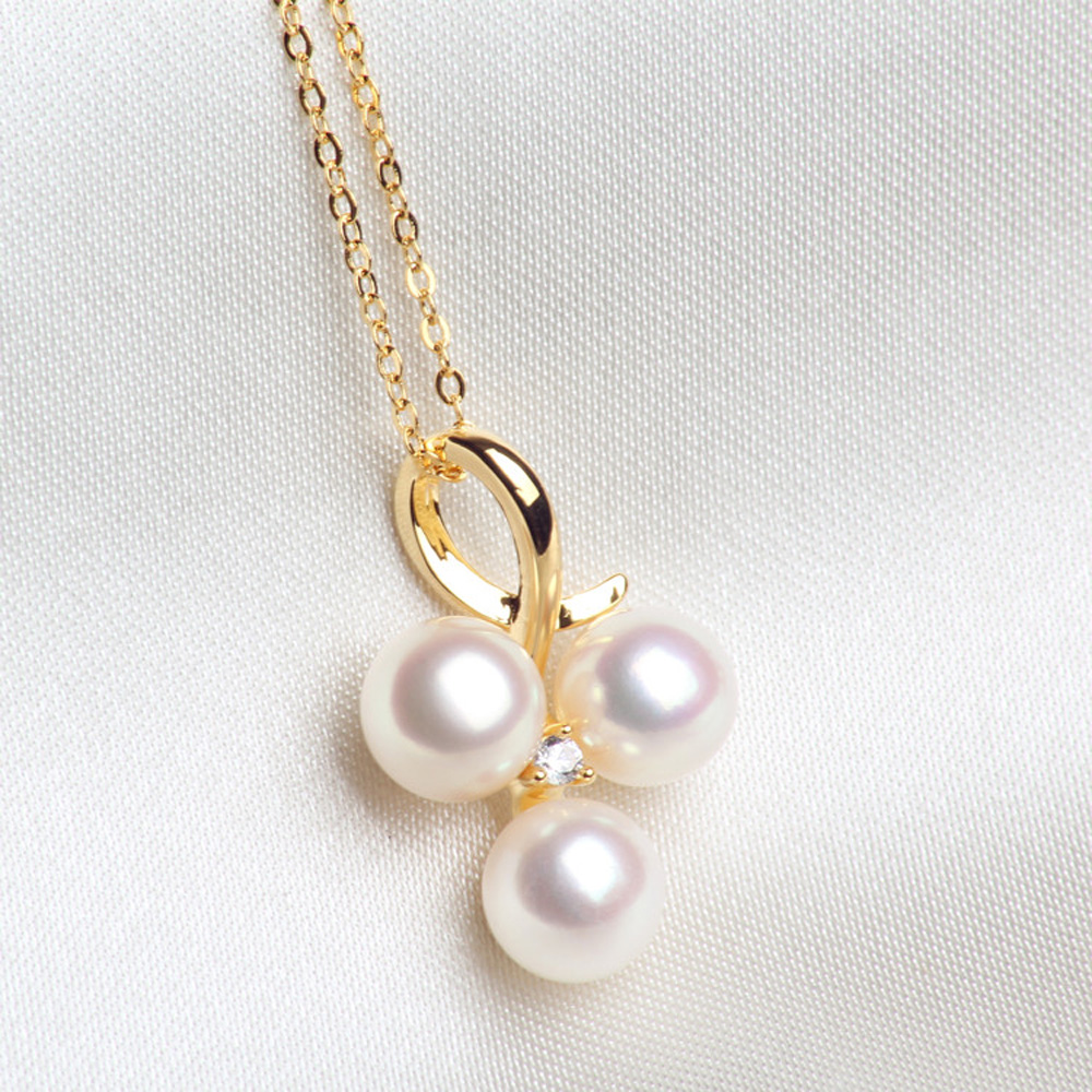 2018 brand design 18k gold natural akoya pearls pendant 925 sterling 2018 brand design 18k gold natural akoya pearls pendant 925 sterling silver chain necklace women party fine jewelry christmas in necklaces from jewelry aloadofball Gallery