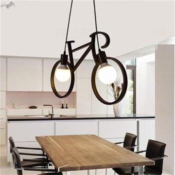 Candelabro de hierro nórdico Retro moderno de la bicicleta iluminación de café LED de la barra del Loft lámpara de techo del dormitorio Droplight tienda de decoración del hogar regalo de los niños