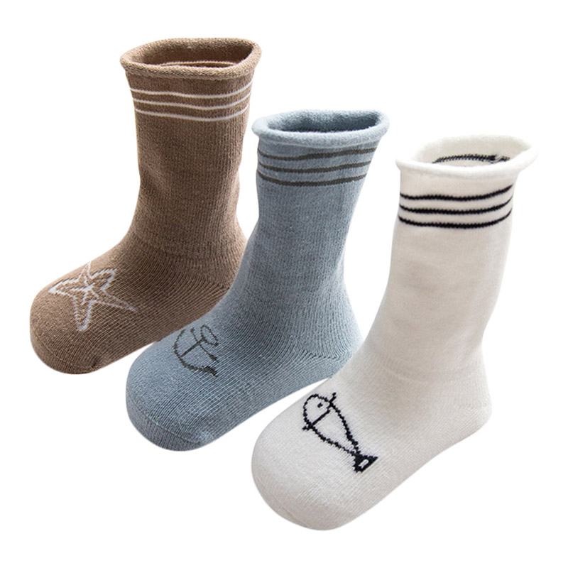 3Pcs Simple Design 5 Kinds Style Pure Cotton Knee Baby Socks Winter Fall Cute Boys Girls Socks G9