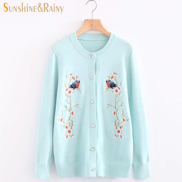 af06547ead winter autumn casual tops o neck collar floral embroidery knit Knit Sweater  Dress at Knit Sweater