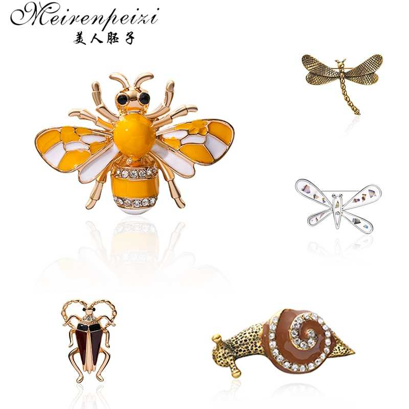 Meirenpeizi 昆虫蜂カエルブローチピン女性ヒジャーブピンカタツムリカブトムシ錦織り男性スーツラペルピン動物クリスタルラインストーンのブローチ