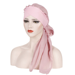Image 5 - Helisopus Solid Color Pre Tied Arab Indian Turban Muslim Headwear Women Chiffon Hijab Cap Bandanas Headscarf Hair Accessories