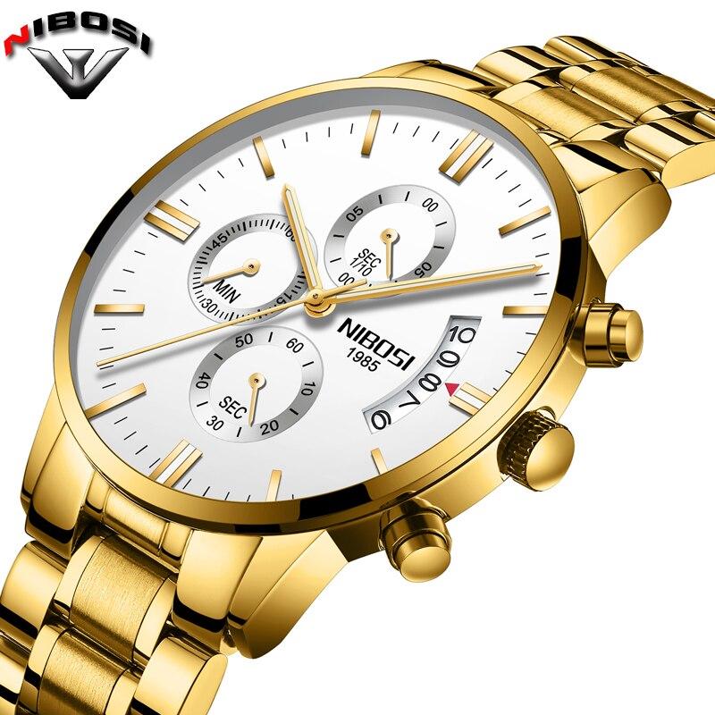 2018 NIBOSI marca de lujo relojes de los hombres de moda Deporte Militar reloj de cuarzo de los hombres de acero completo impermeable reloj hombre reloj Masculino