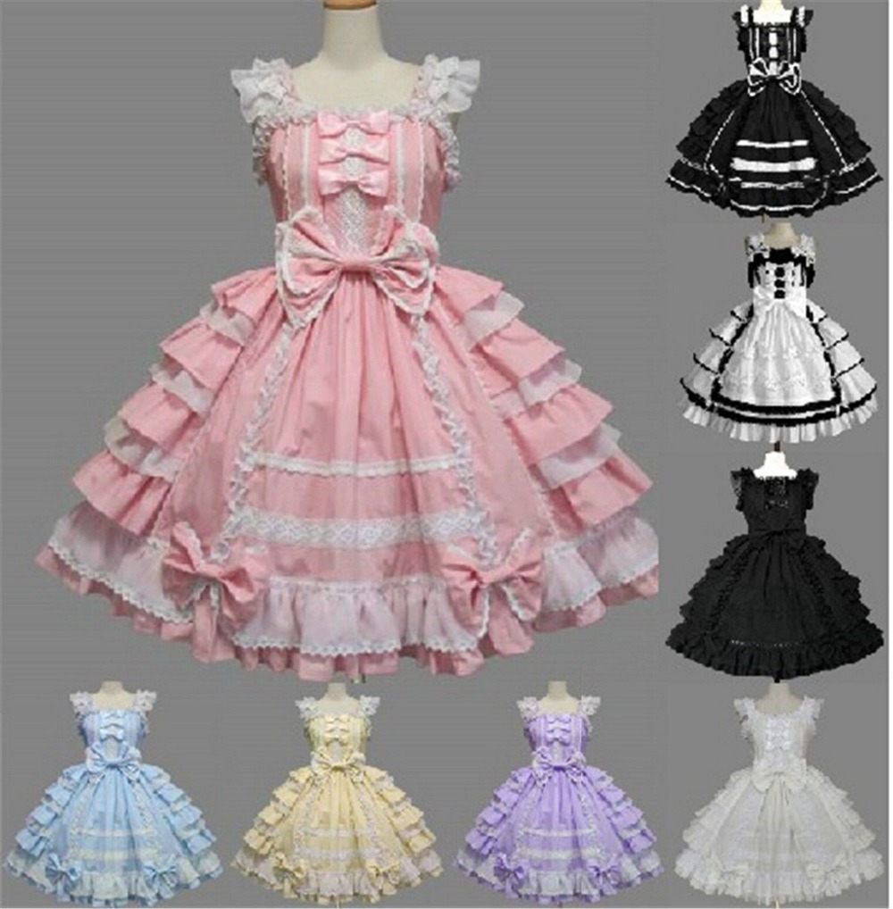 free shipping Vintage GIRL Costume Cute Bowknot Ruffle Lolita Princess Dress Cosplay Fancy dress lolita princess roll split cosplay costume wig 65cm chip on synthetic cos hair free shipping