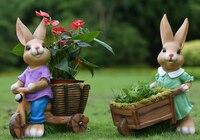Rustic artificial animal sculpture resin rabbit craft outdoor decoration 2pcs/lot garden decor home Ornaments