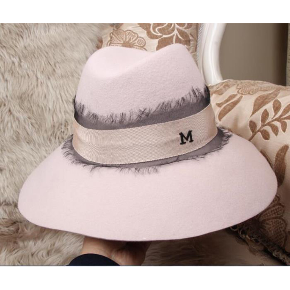 Paris 2015 new spring hat Workshop Maison Michel hat female autumn and  winter woolen hat Pink stitching lace Free shipping 7cbbcbd7f8a