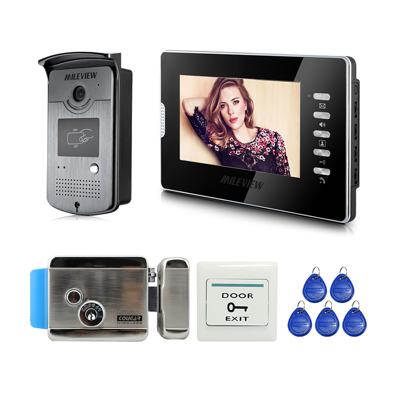 Home Wired 7 Screen Video Door Phone Intercom Doorbell System + RFID Access Door Camera + Electric Control Lock FREE SHIPPING 7 inch password id card video door phone home access control system wired video intercome door bell