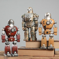 1 SET(3pcs) Retro industrial style Iron Man robot wine cabinet small decoration living room home (Without book) AP5171735