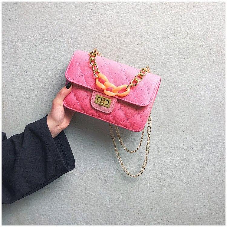 Luxury Women Classic handbag Designer Pink Blue Gradient PU Leather Lingge Shoulder Bag (18)