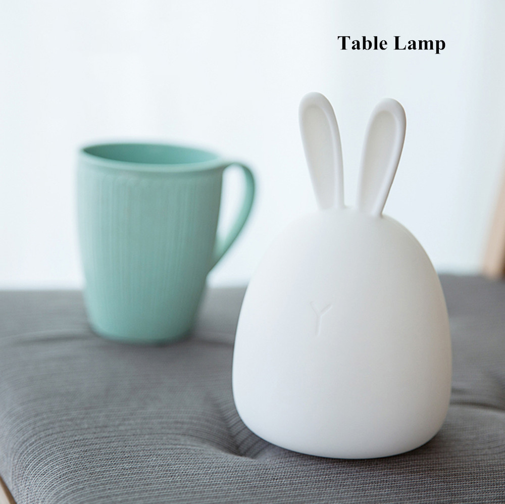 SuperNight Rabbit LED Night Light Vibration Touch Sensor Colorful USB Silicone Bunny Bedside Table Lamp for Children Kids Baby (7)