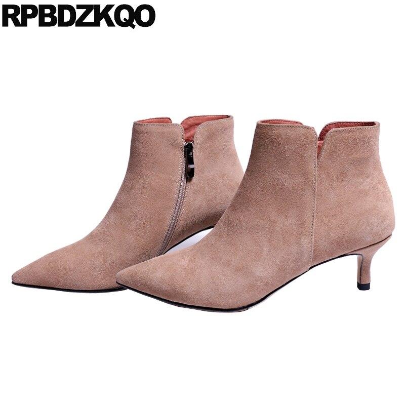 Stiletto Women Ankle Boots Medium Heel Fashion Designer Suede Pointed Toe Winter Short Zipper Pointy Fall Booties 9 Shoes 2017 stiletto women ankle boots medium heel fashion designer suede pointed toe winter short zipper pointy fall booties 9 shoes 2017