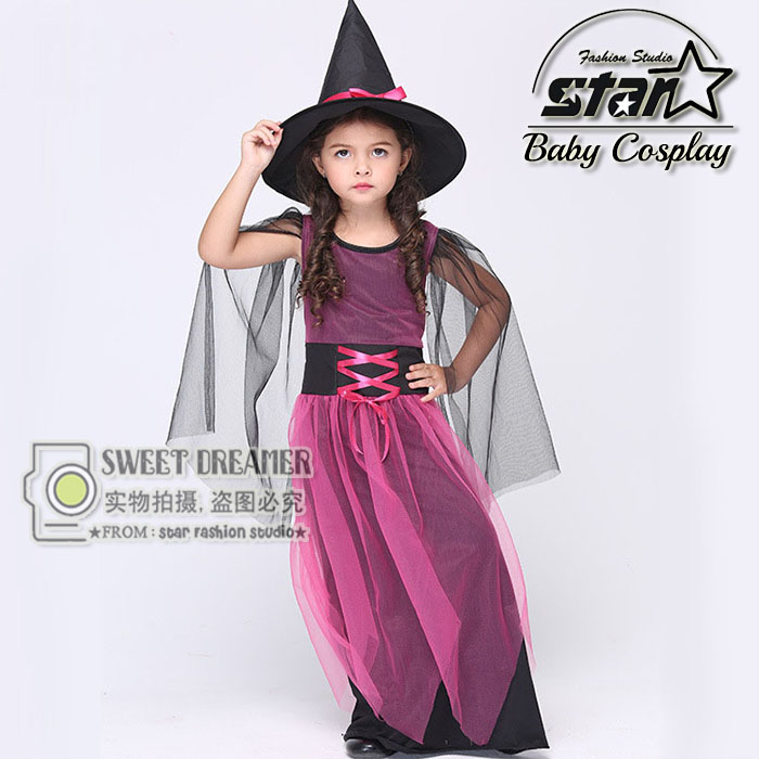 2016 New Style Halloween Carnival Children Cosplay Witch Costume Purple Princess Fancy Dress Ball Girls Gauze Dress With Hat 4pcs gothic halloween artificial devil vampire teeth cosplay prop for fancy ball party show