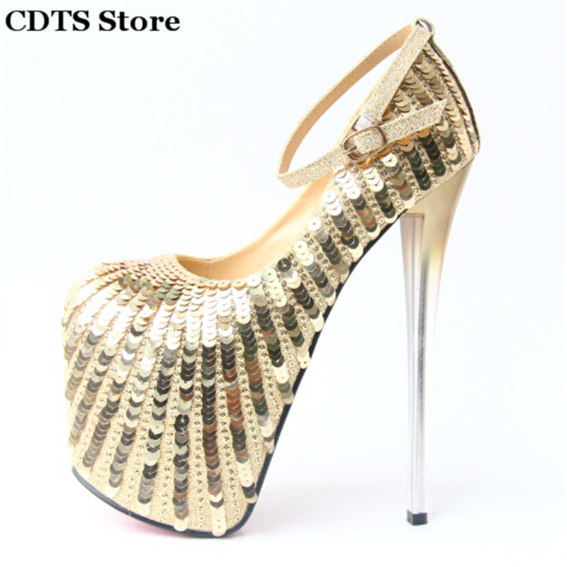 ФОТО CDTS zapatos Plus:34-43 Spring 20cm ultra high thin heels single Ankle Strap Sequins shoes woman sexy wedding Red Bottoms Pumps