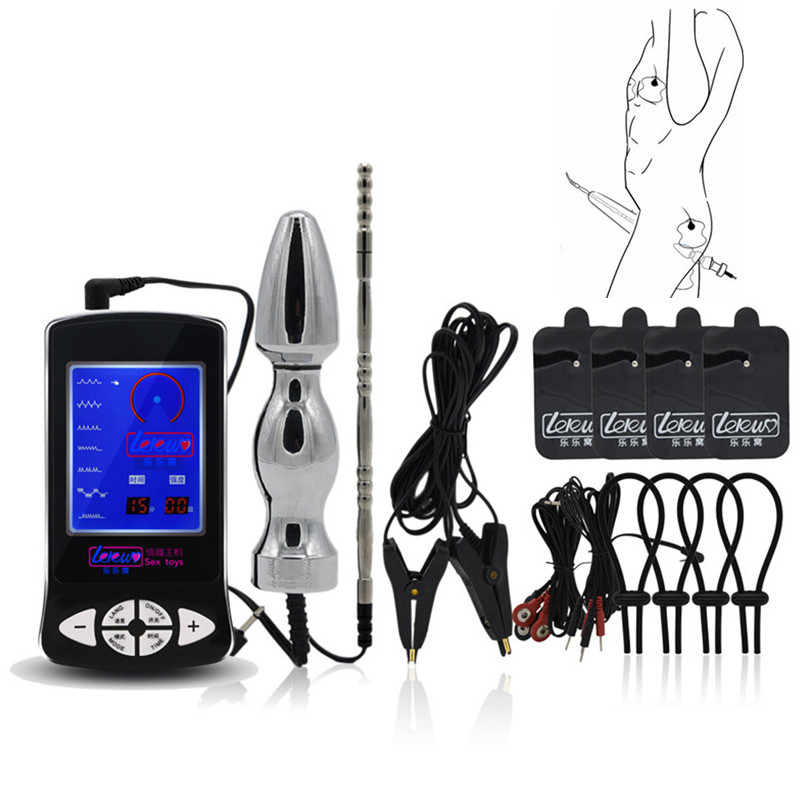 Electro Shock kit Anal Plug Penis Plug Cock Ring Massage Pad Nipple Clamps Sex Toys For Men Electric Shock chastity Sex Products hot electric shock medical themed toys kit penis rings massage pad anal butt vagina plug electro shock sex toys for men couples