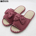 2017 New Flat with Home Slippers Women Shoes Cute Bow-knot Summer Slippers Simple Cotton Fabric Shoes Couple Spring/Autumn
