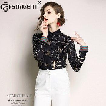 61abfe71bb83 Simgent nueva moda mujeres elegante largo manga cuello camisas de oficina  para Mujer blusas Tops Camisa
