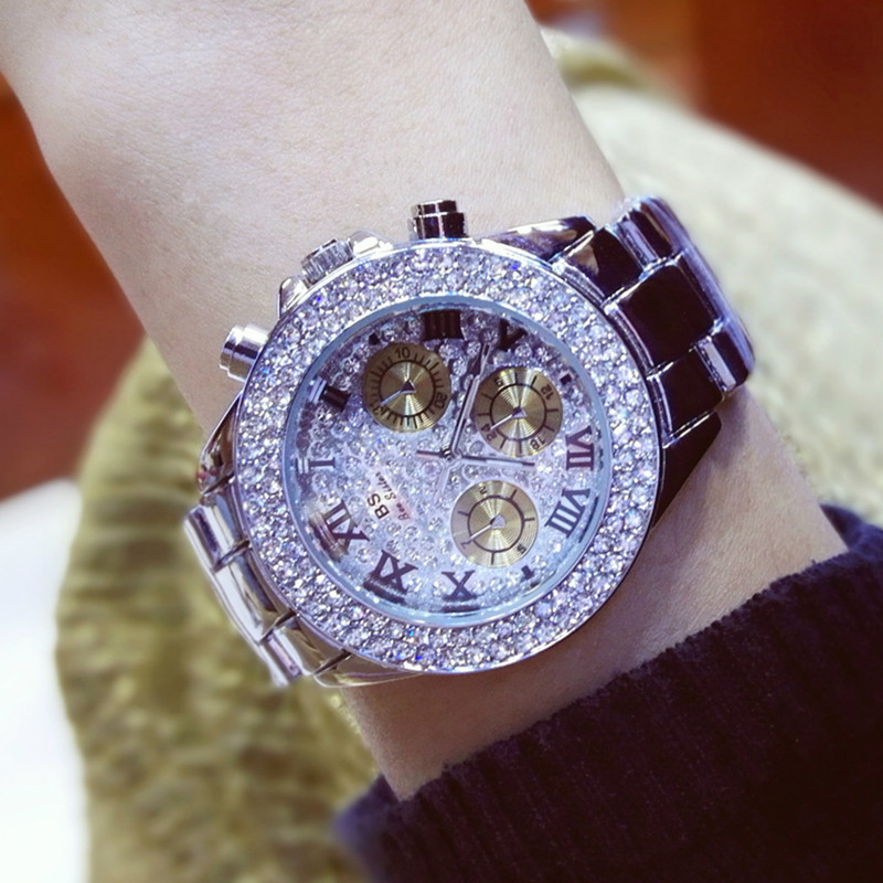 Gold Silver Gold Plus Silver Popular High end Linked List Roman Digital Rhinestone Watch Watch Ladies Gift Fashion amp Casual in Women 39 s Watches from Watches