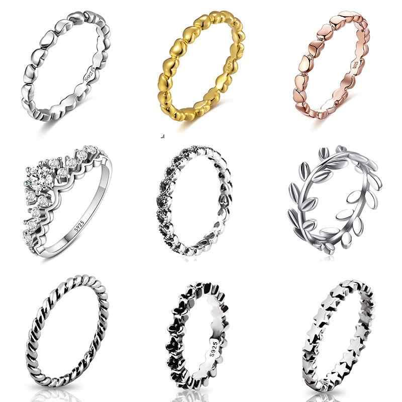 925 srebro pierścionek Charms czarny kwiat różowe złoto srebro Surround Heart Ring dla kobiet 925 biżuteria