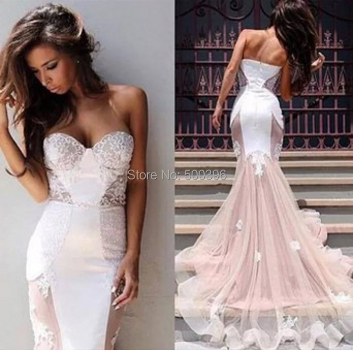 Attractive Mermaid Bridal Wedding Gowns 2016 Vestidos De Novia Sweetheart White Satin And Champagne Tulle In Dresses From Weddings