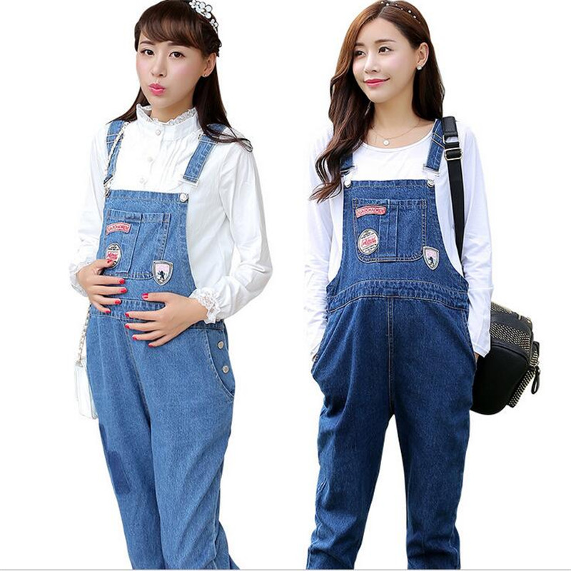 Maternity Suspender Jeans Women Spring Autumn New Fashion Overalls Jeans Female Plus Size M-XXL Bib Pants Blue Jumpsuit Pregnant liva girl spring women low waist sexy knee hole skinny jeans brand fashion pencil pants denim trousers plus size ripped jeans