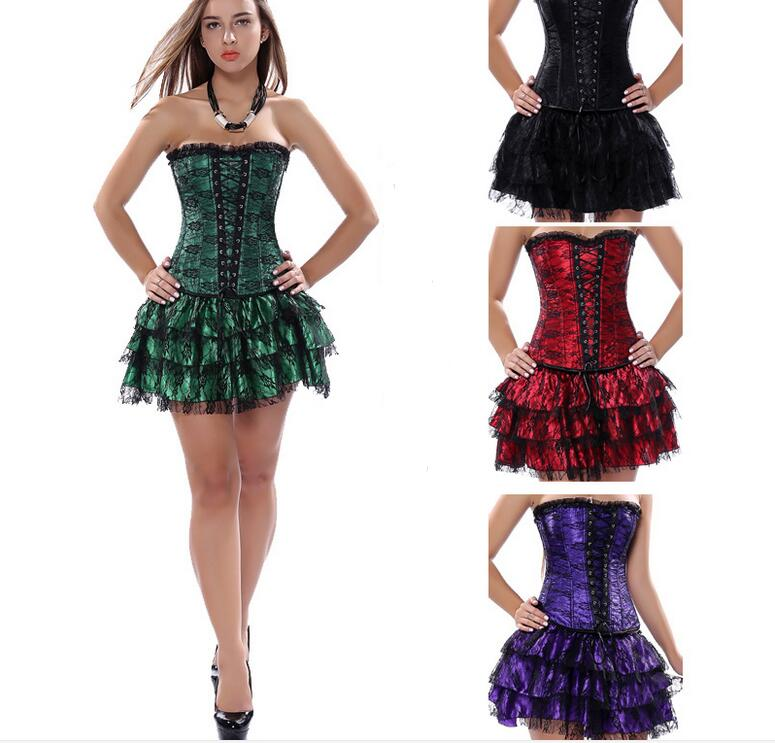 Plus Size Gothic Prom Dresses: Sexy Underbust Corset And Bustier Lace Evening Women