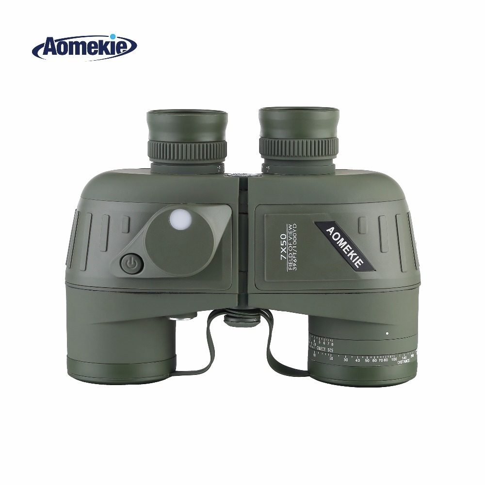 AOMEKIE 7X50 Military Binoculars Hunting Optical Bird Watching Telescope HD Bak4 with Rangefinder Compass Floating Waterproof original uhpbulb inside projectors replacement with housing ec k1400 001 for acer s5200 projectors 180days warranty