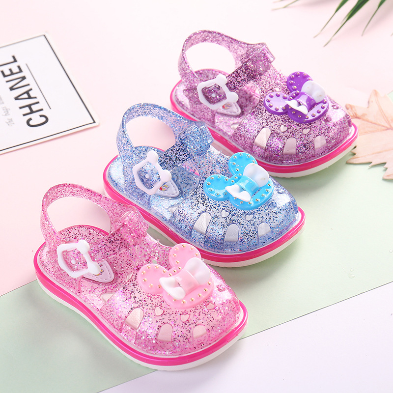 Summer Crystal Baby Girls Sandals For Children Beach Shoes Kids Sports Soft Non-slip Casual Toddler PVC Leather Sandal 1-6 Years