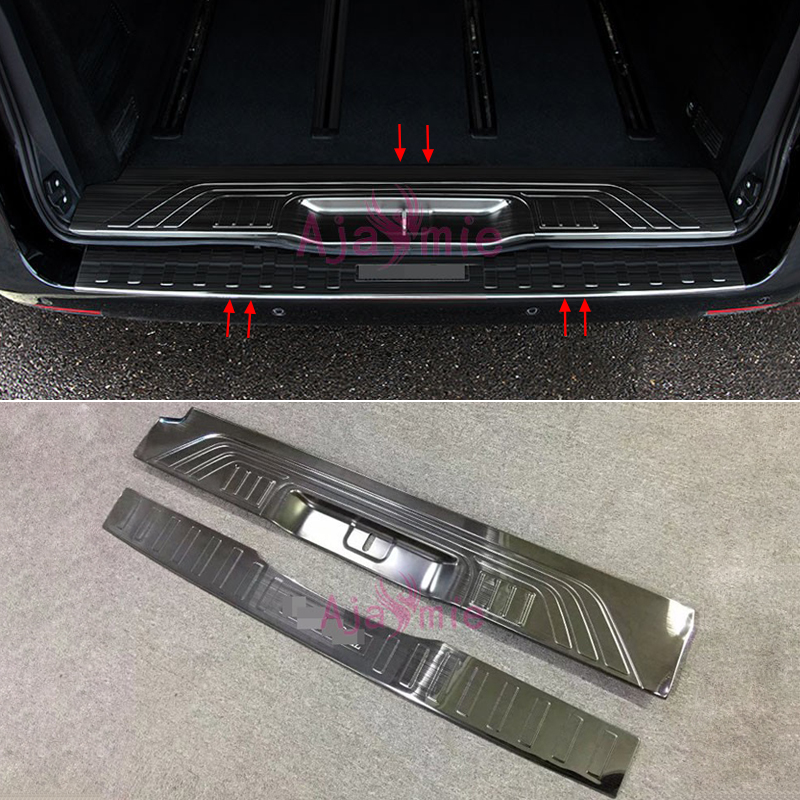 Black Titanium Steel Rear Trunk Door Sill Tail Bumper Plate 2014 2015 2016 2017 2018 For Mercedes-Benz Vito W447 Accessories chrome rear bumper trunk door sill plate cover for mercedes x205 glc benz glc200 glc250 glc300 2015 2016