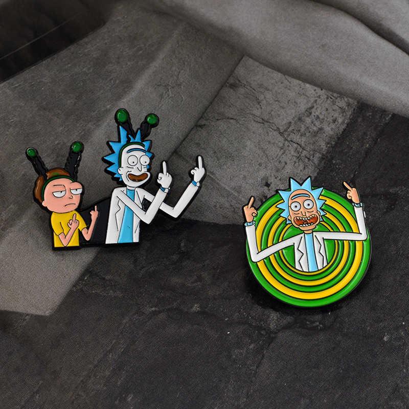 Persoonlijkheid Alien Broche Rick & Motie Stijl Icoon Emaille Classic Cartoon Pin Badge Vinger Komkommer Anime Denim Jasje Sieraden