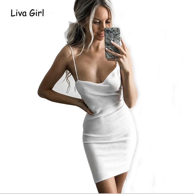 2202f114acb8 Sexy Adjustable Strap White Dress Asymmetrical Knitted Bodycon Dress Women  Knitwear Gray Basic Dress Vestidos