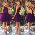 Очаровательная холтер-плеча короткие платья возвращения на родину 2015 ну вечеринку платья без рукавов замочная скважина спинки с бусины Ruched фиолетовый выпускного вечера 2015