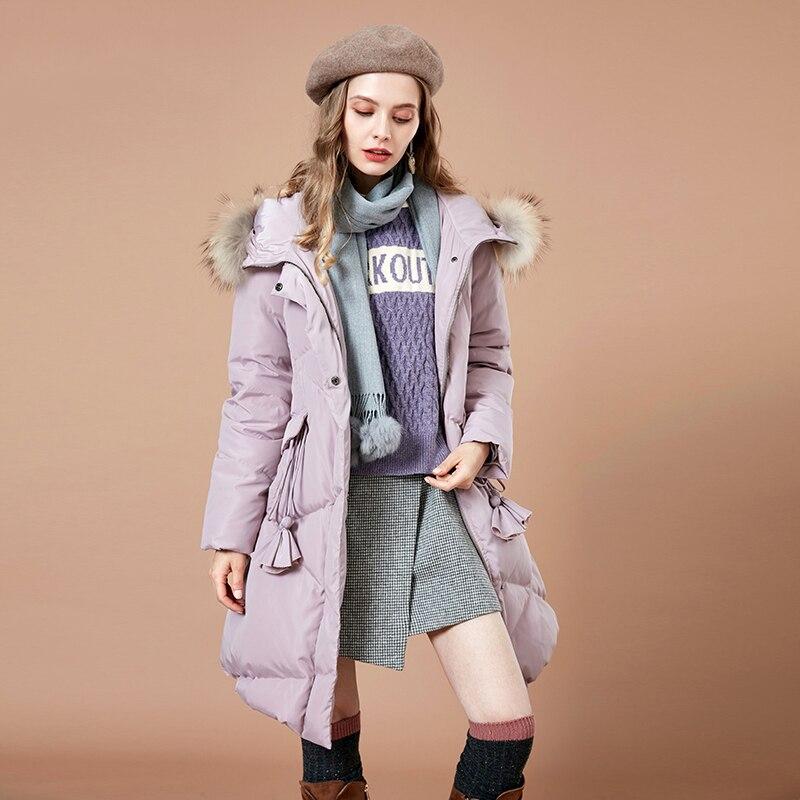 Kadın Giyim'ten Şişme Montlar'de ARTKA 2018 Sonbahar ve Kış Yeni Kadın Katı 90% Beyaz Ördek Aşağı Ceket Püsküller Sıcak Kürk Yaka Kadın kapüşonlu ceket YK10683D'da  Grup 2