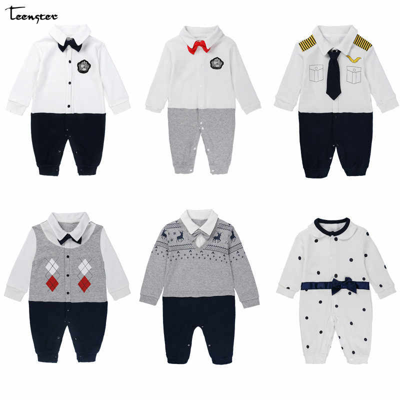 f733b1db42a3 Teenster Baby Clothes Boy Rompers Spring Autumn Long Sleeve Gentleman Romper  New Born Baby Costume Cartoon