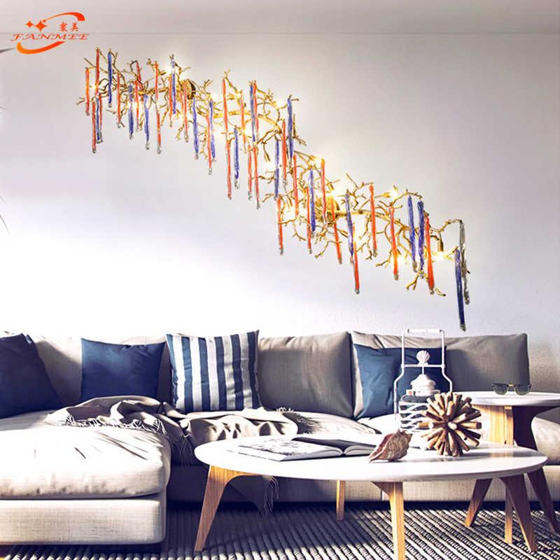 Современный медный филиал настенный светильник светодиодный Настенный бра свет цветное стекло капля медное настенное освещение для дома гостиной столовой Декор