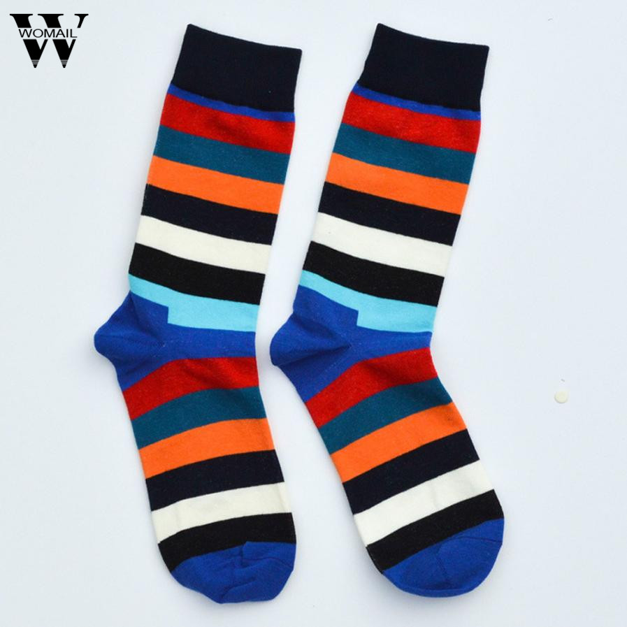 1 Pair men socks Middle cotton Dress sock colorful breathable Striped socks Amazing