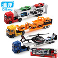 4 in 1 The Alloy trucks Children's educational toys 1:36 cars Toy trailer and helicopters Metal model toy car For Children Gifts