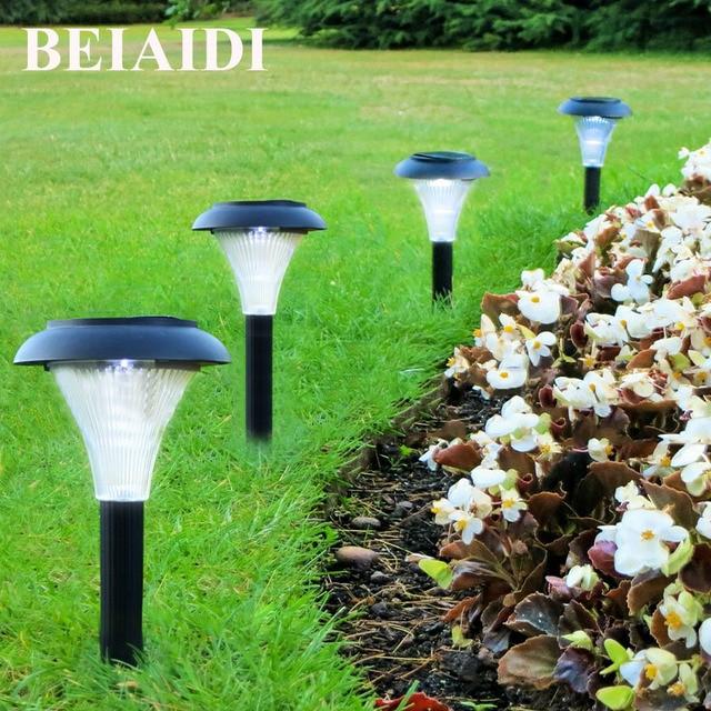 Beiaidi 6pcs Outdoor Solar Ed Garden Lawn Light Waterproof Pathway Lantern Spotlight Counyard Fence Patio Landscape