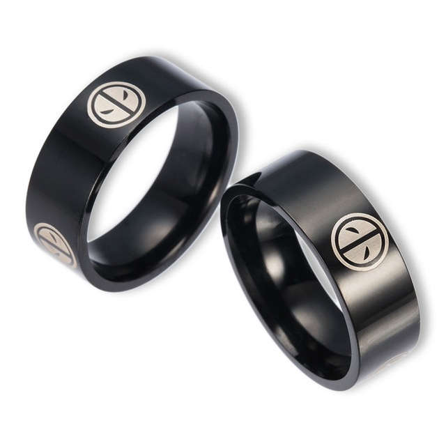 New Arrival Deadpool Marvel Ring Black Tungsten Engraved Mens Jewelry