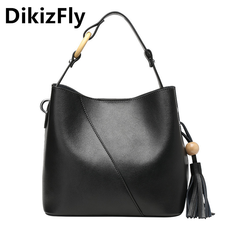 DikizFly women bag famous brand handbags Genuine Leather shoulder bags high quality designer leather bag for women Tassel totes 2016 new hot luxury plaid women bags handbags high quality leather bags for women shoulder bag famous brand chain shell bag