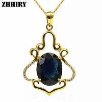 Твердое 18 к розовое золото натуральное Сапфировое Ожерелье Подвеска подлинные женские ювелирные изделия с цепочкой ZHHIRY