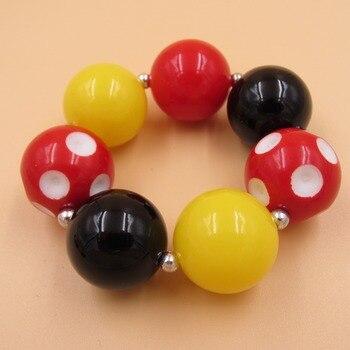 20mm Acrylic Beads Bubblegum Bracelets China Post Air Mail Free Shipping Kids Jewelry Strand Chunky Bracelets Bangle Girls Jewel 2