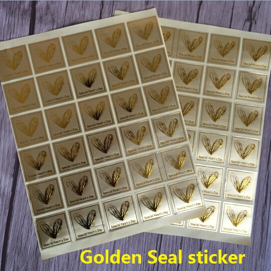 300pcs/lot New Vintage  Golden  special Heart  day  design thanks series seal sticker DIY note gift  Labels multifunction