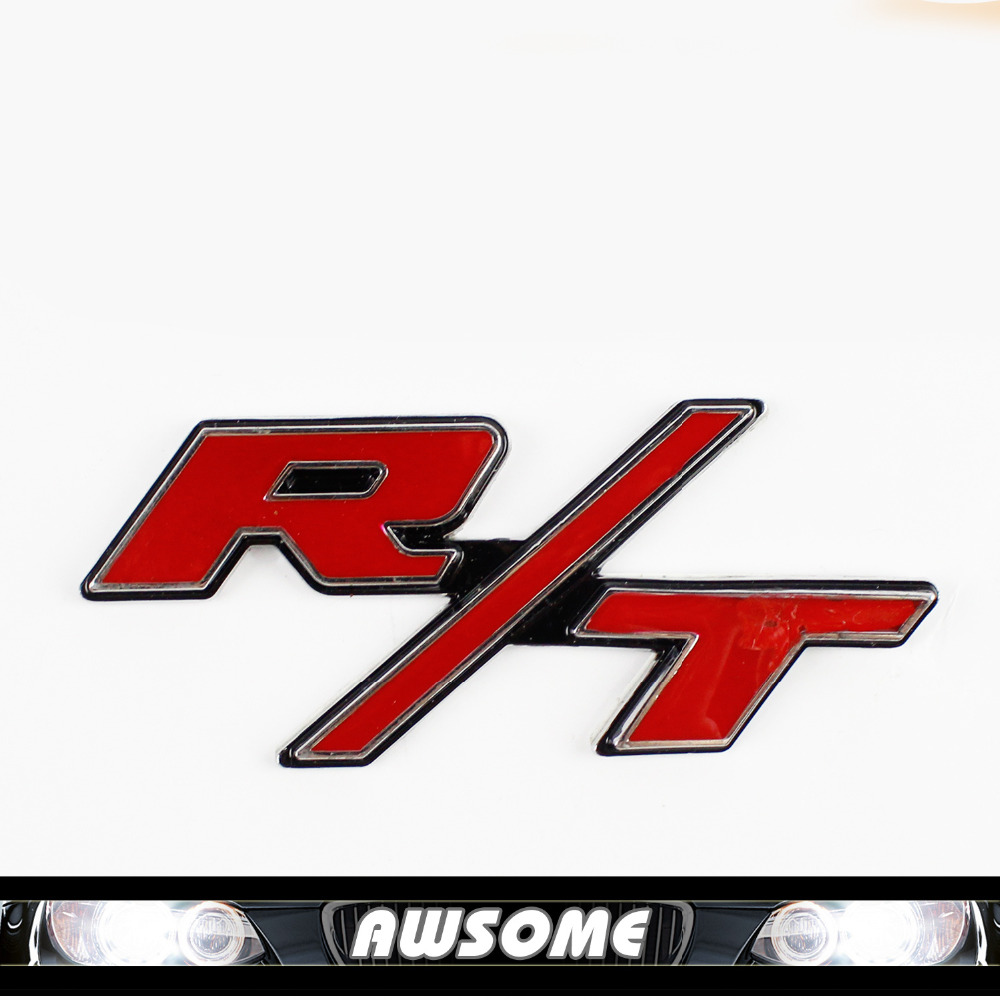 1x red r t decal emblem nameplate for challenger for charger ram for dodge for chevy waterproof