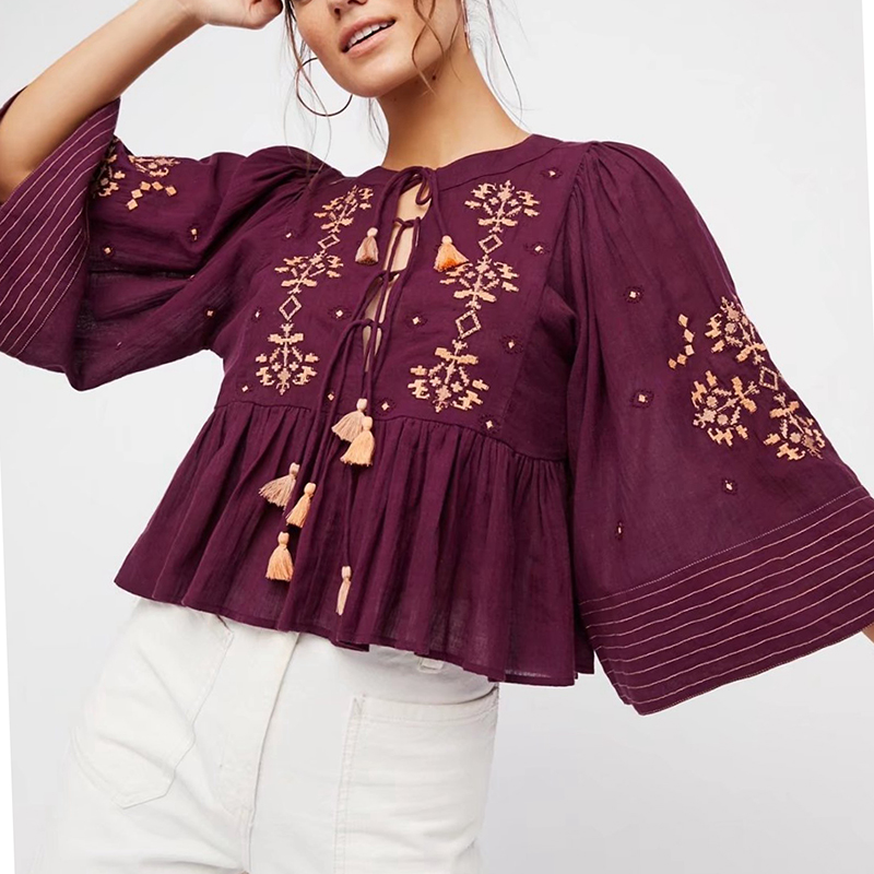 Wine Red Floral Embroidery Blouse Autumn Short Loose Tassel Tie In Fronts Boho Chic Ethnic Long